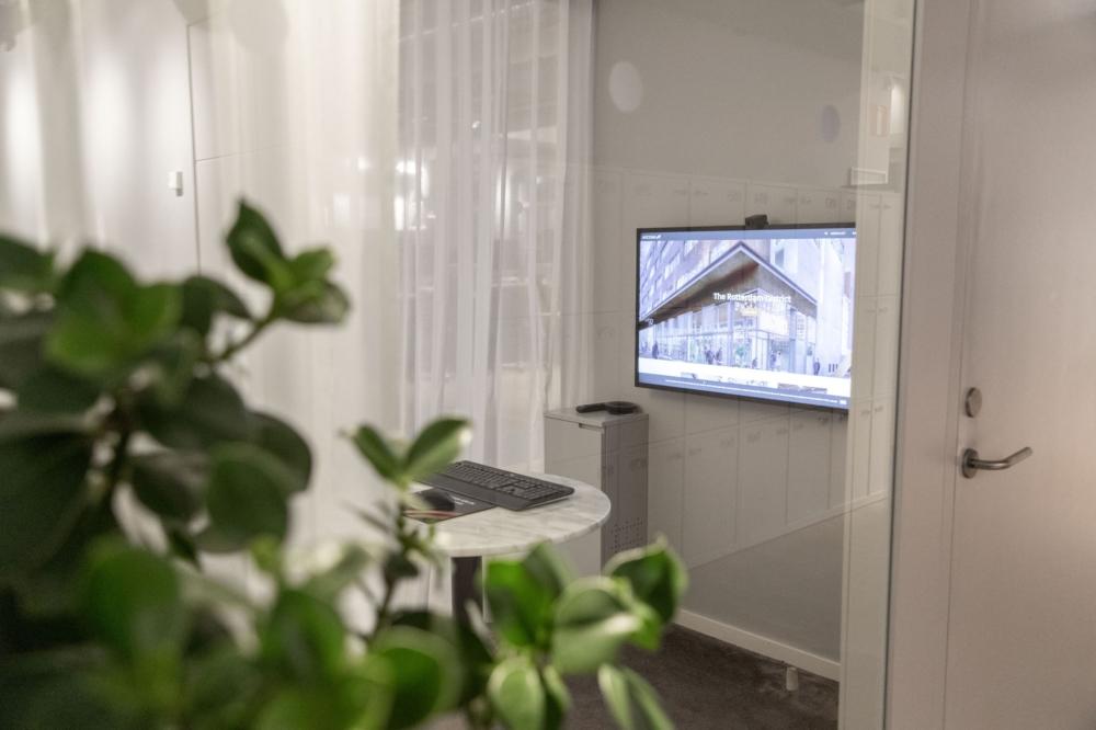 Arcona. Samtalsrum, skärm från Samsung, kamera från Huddly.